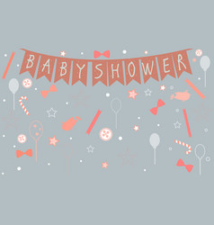 baby shower celebration poster in pink vector image