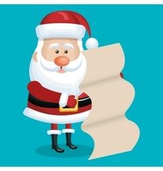 card santa with list gift blue bakcground vector image