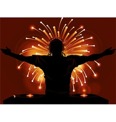 DJ record decks and fireworks background vector image vector image