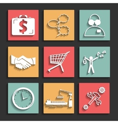 flat business icons for web and mobile vector image vector image