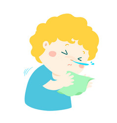 little boy sneezing cartoon vector image vector image