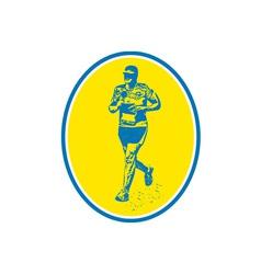 Marathon Runner Running Oval Retro vector image vector image