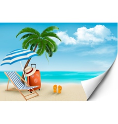 Beach with palm trees and beach chair Summer vector image