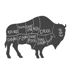 Bison Silhouette with Meat Cut Scheme vector image