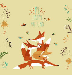 cute foxes with autumn leaves and plants vector image vector image