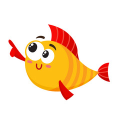 funny smiling golden yellow fish character vector image vector image
