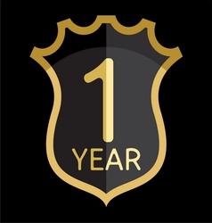 Golden shield 1 year vector image vector image