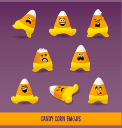 Set of candy corn emojis for halloween vector