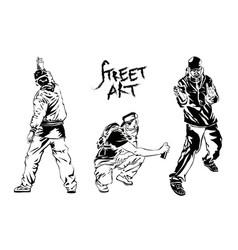 set of graffiti artists collection street art vector image