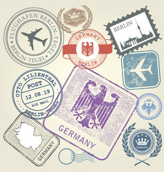 travel stamps set germany and berlin journey vector image vector image