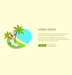tropical island on round tag isolated near text vector image vector image