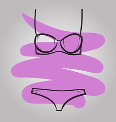 Woman swimming suit female swimsuit drawn vector image vector image