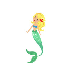 Blond mermaid girl with long fish tail and shell vector