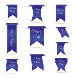 Blue hanging curved ribbon banners set for merry vector