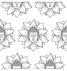 buddha and lotus seamless pattern vector image