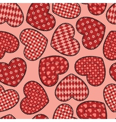 Patchwork hearts seamless pattern vector image vector image