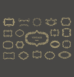 set of gold vintage floral frames and monograms vector image vector image