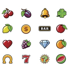 slot machine symbols set vector image vector image