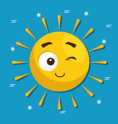 summer sun face cartoon vector image