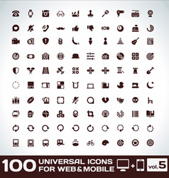 100 Universal Icons For Web and Mobile volume 5 vector image