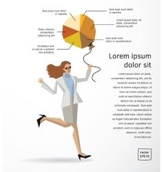 Business woman info graphics diagram flat vector image
