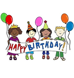 Multicultural kids with Birthday banner vector image vector image