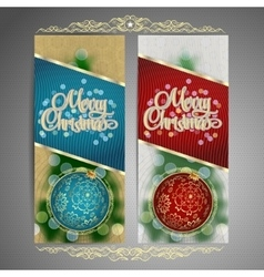 Set of cards with Christmas BALL tree and garland vector image