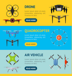 air drone color drone banner horizontal set vector image