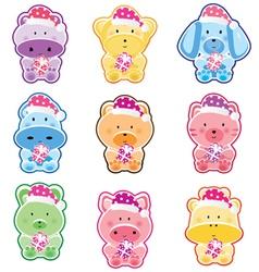 animal christmas stickers vector image