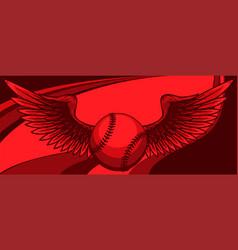 baseball ball with wings vector image