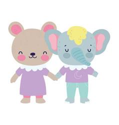 bashower cute little bear and elephant cartoon vector image
