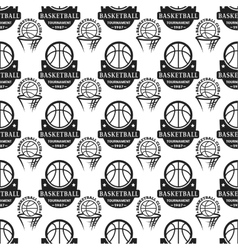 Basketball championship badge seamless pattern vector
