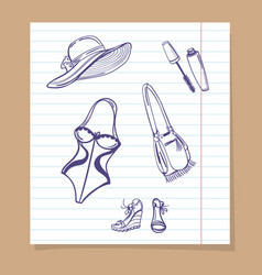 Beach look sketch icons vector