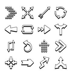 Bent arrows and arrows icon set line style vector