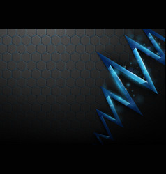 Black abstract pattern hexagons and blue cracked vector