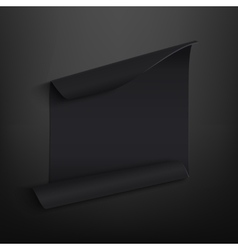 Black blank curved paper banner on black vector image