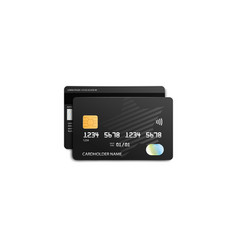 black credit card front and opposite view vector image