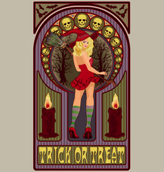 blonde sexy witch with a broom art nouveau style vector image