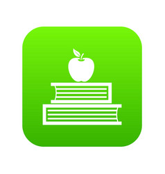 books and apple icon digital green vector image