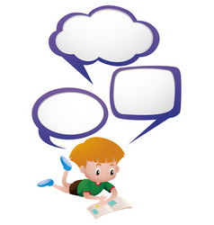 boy reading book with three thinking clouds vector image