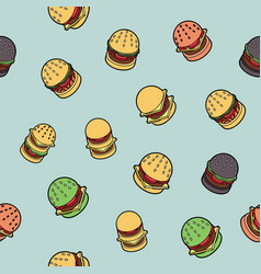 Burgers color outline isometric pattern vector