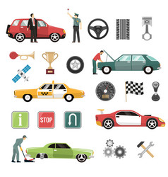 car auto flat icons set vector image