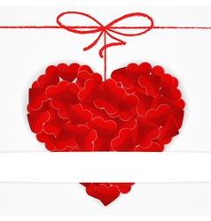Card template with big red heart vector image