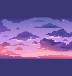 cartoon evening sky sunset or morning landscape vector image