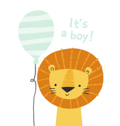 cartoon lion with a balloon it s a boy cute lion vector image