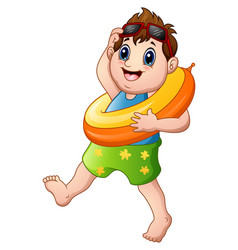 cartoon little boy with lifebuoy walking vector image