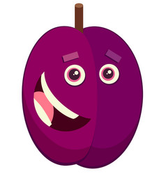 Cartoon plum fruit character vector