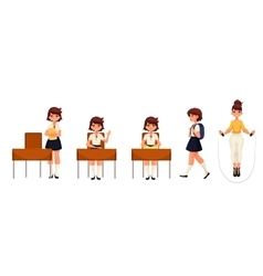 Cartoon school girl standing sitting walking and vector