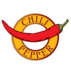 chili pepper label vector image