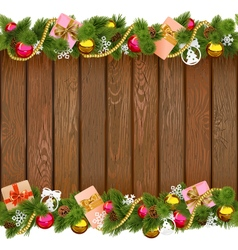 Christmas Border with Gifts on Wooden Board vector